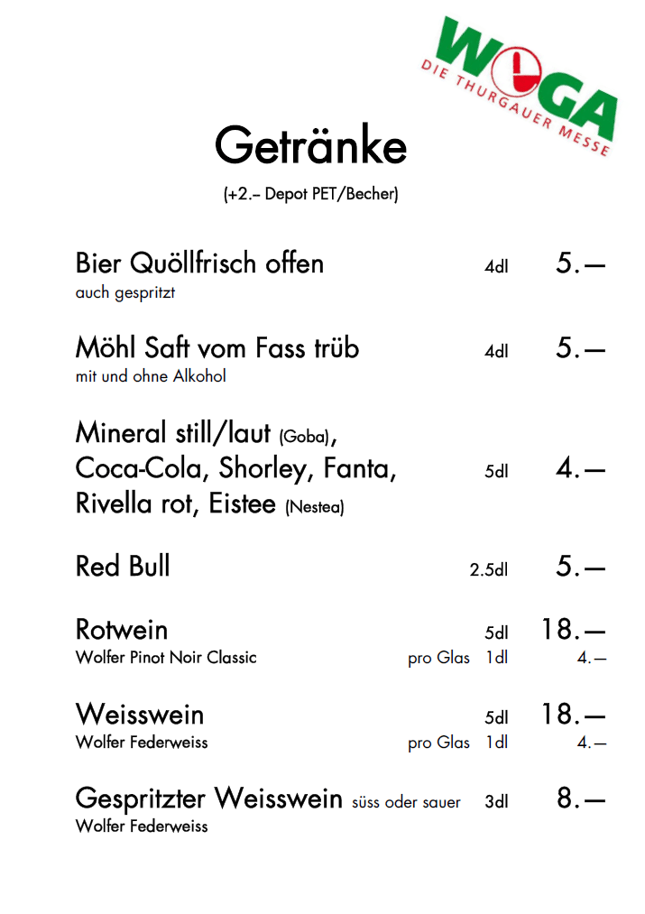 Preisliste Getränke - Hirschenmetzg Schmid